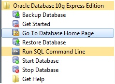 Go to Database Home Page Oracle