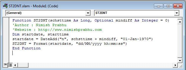 module code excel ST2DNT